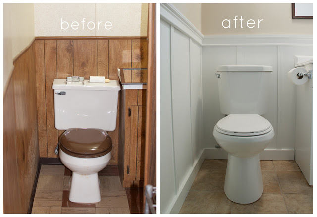 Basement bathroom makeover and our version of board and batten