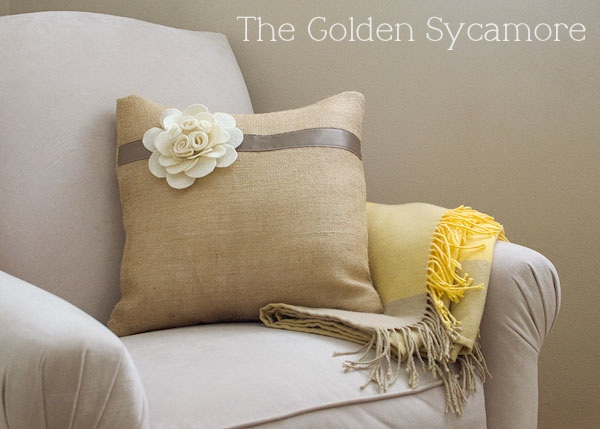Embellished Burlap Pillow Tutorial