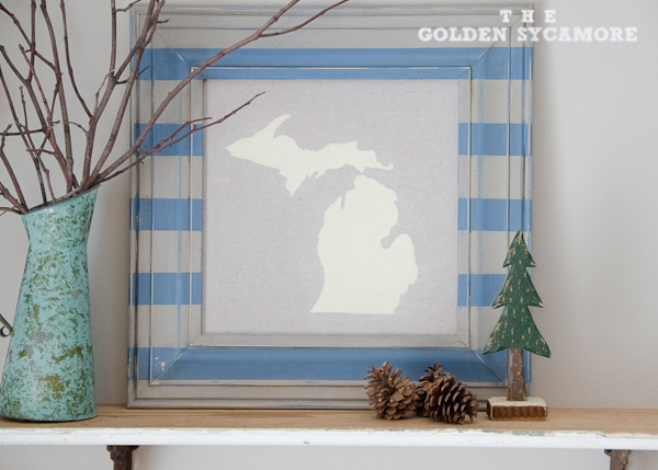 DIY State Map Art and Striped Frame