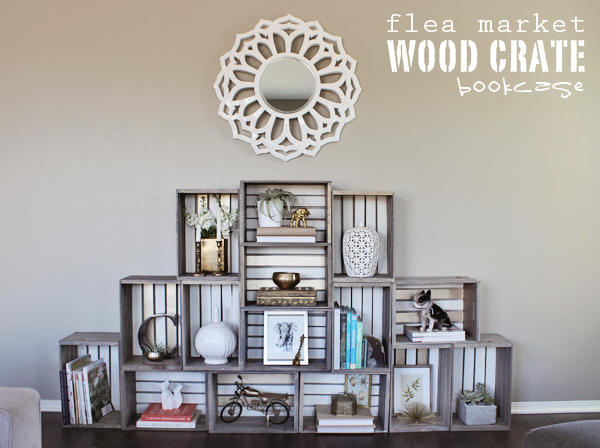 Guest Post: Lacquer and Linen – Flea Market Wood Crate Bookcase