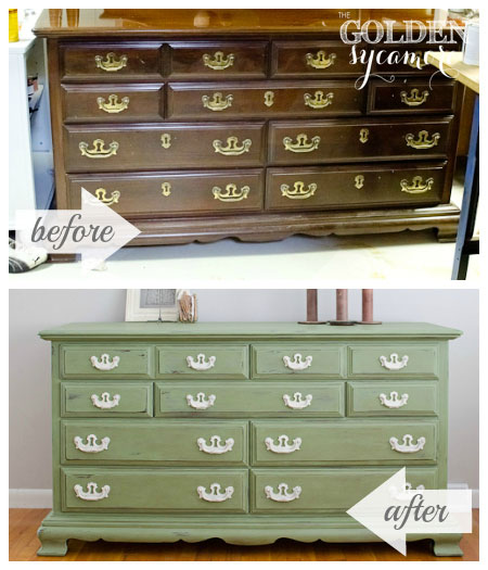 Before And After Green Dresser