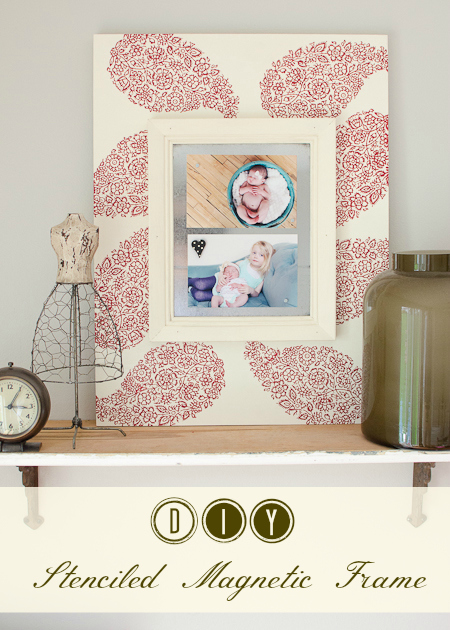 The Golden Sycamore: DIY Stenciled Magnetic Frame