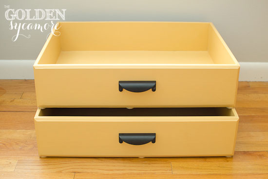 The Golden Sycamore: Repurposed Dresser Drawers into Hidden Storage