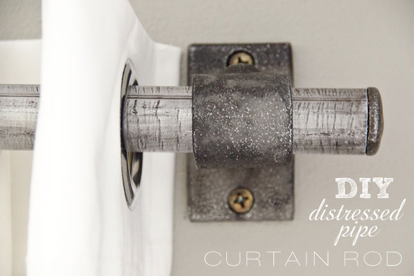 DIY Painted Stripe Curtains and Distressed Pipe Curtain ...