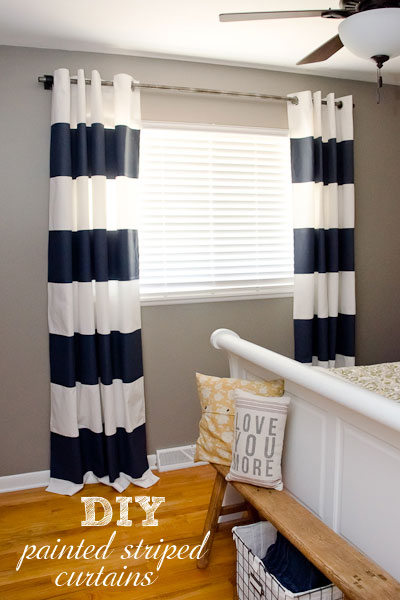 Diy Painted Stripe Curtains And Distressed Pipe Curtain