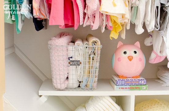 Organized Nursery Closet from thegoldensycamore.com