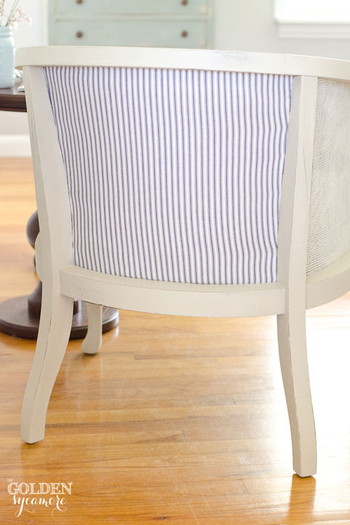 Reupholstering Back of Cane Chair