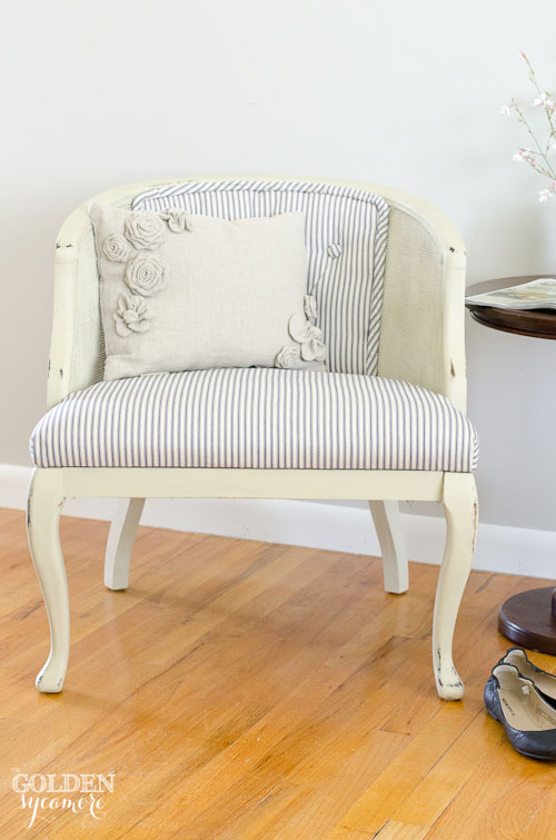 Reupholstered Tufted Cane Chair