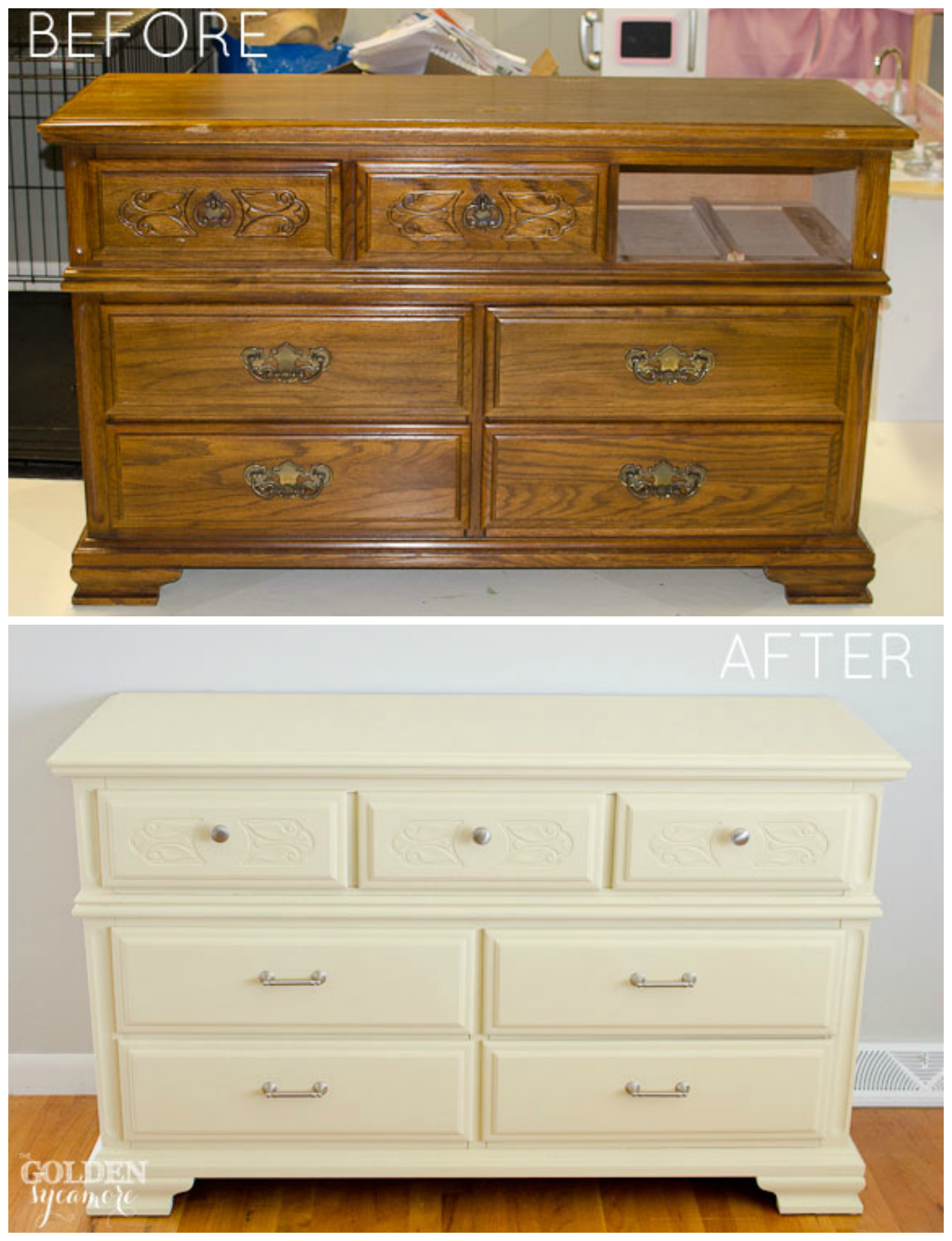 How to give old furniture a modern look with chalk paint for Painting designs on wood furniture