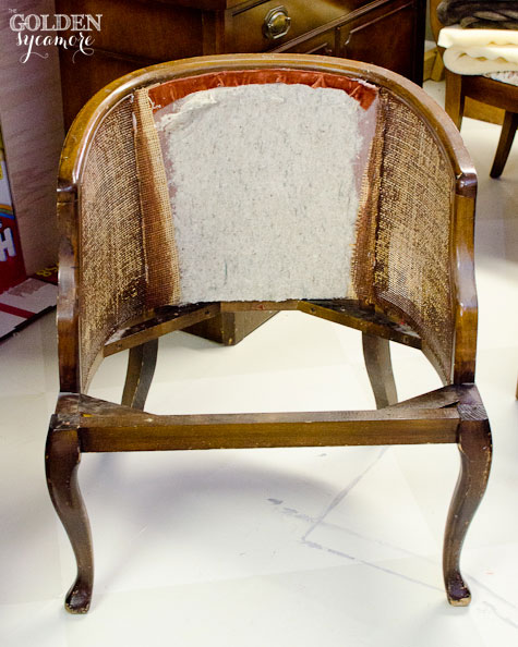Tufted Cane Chair Tutorial : How to Take it Apart