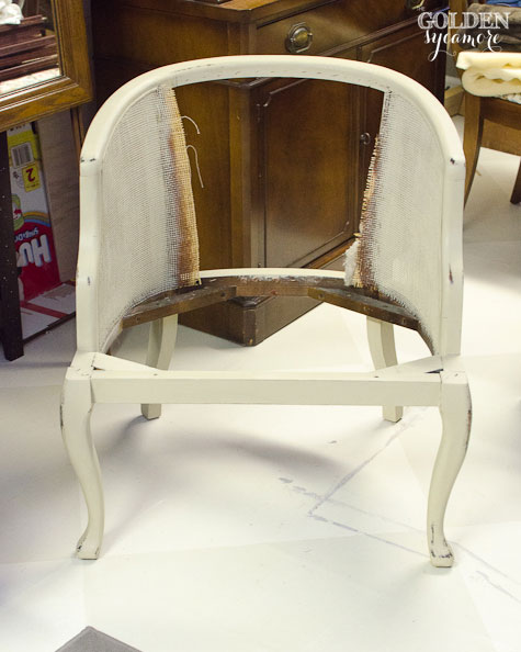 How to Reupholster a Cane Chair with Tufted Back & Tufted Cane Chair Tutorial : How to Take it Apart - The Golden Sycamore