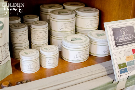 Miss Mustard Seed's Milk Paint Display from thegoldensycamore.com
