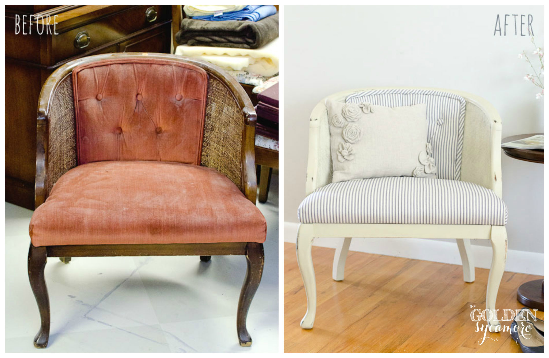reupholstered tufted cane chair the golden sycamore