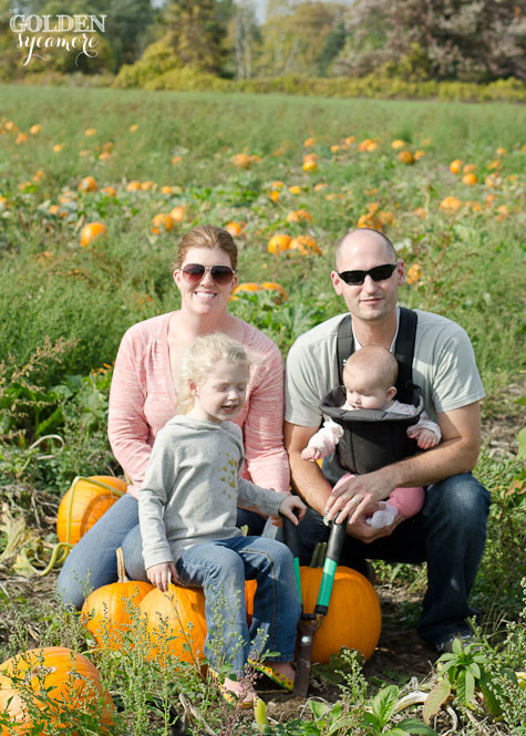 The Golden Sycamore family photo at the pumpkin patch
