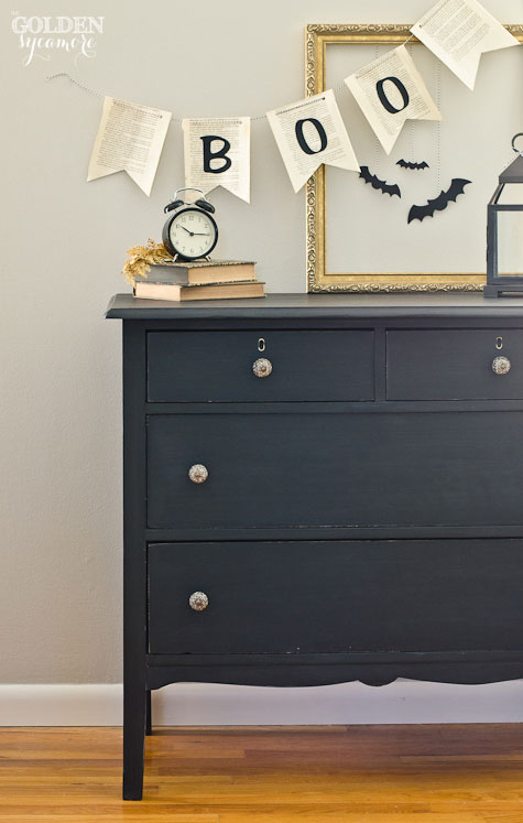 Halloween decor and dresser in Miss Mustard Seed's color of the month for October - Typewriter  #mmsmilkpaint #typewriter #mmsmpcolorofthemonth