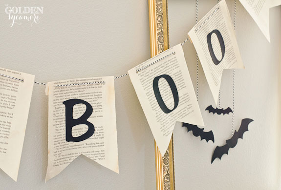 """Boo"" book page bunting from thegoldensycamore.com"
