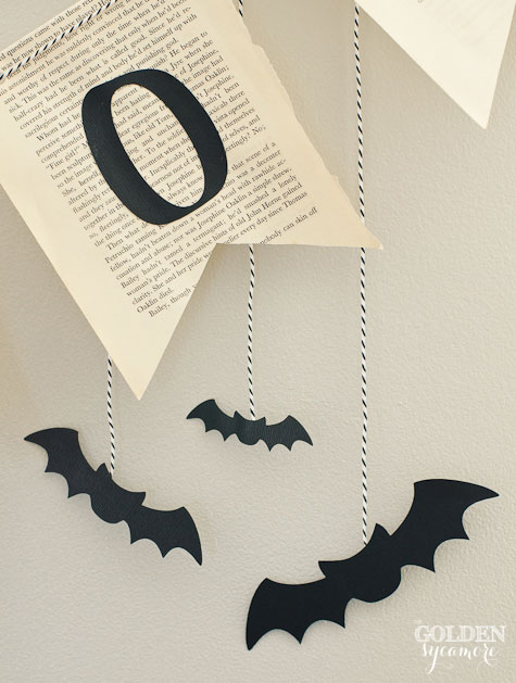 "Halloween ""boo"" book page bunting and black bats"