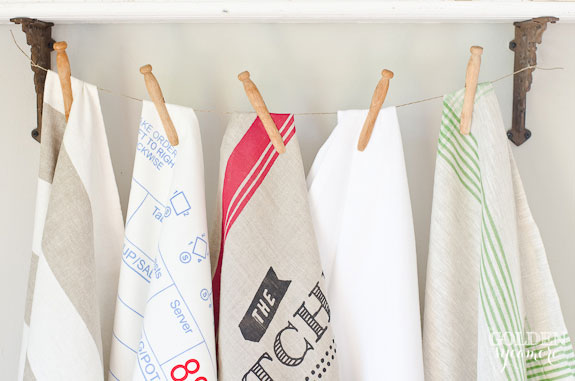 Tea towels, vintage clothes pins, and twine
