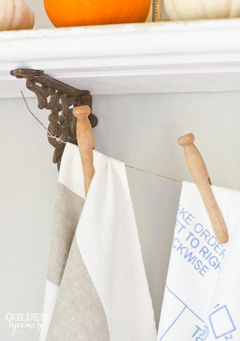 Tea towels and vintage clothes pins