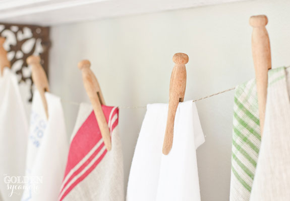 Tea towels and vintage clothes pins