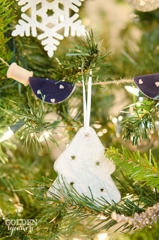 Neutral and Navy Christmas Tree with Spool and Fabric Garland