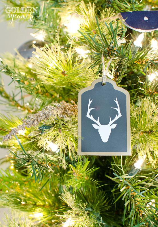 Deer Silhouette on Christmas Tree