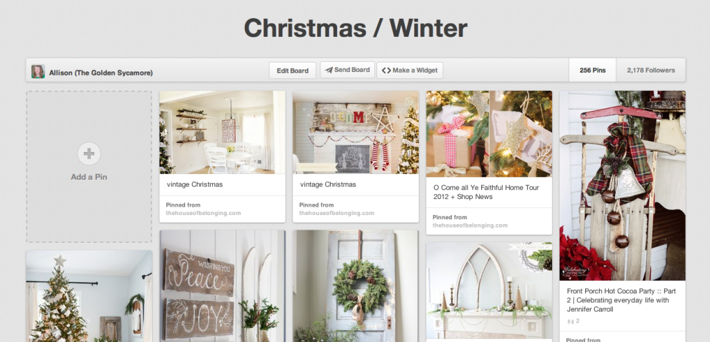The Golden Sycamore's Christmas/Winter Pinterest board