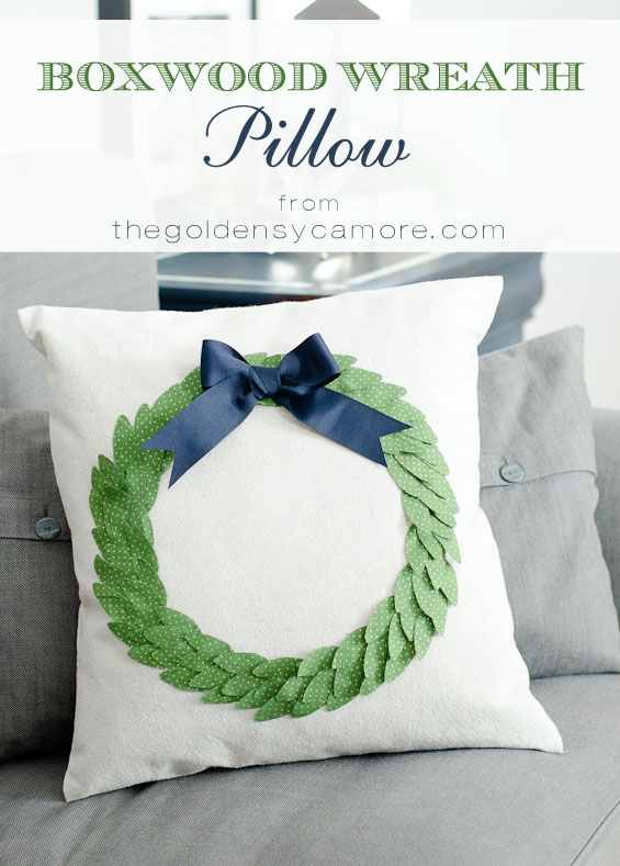 Faux Boxwood Wreath Pillow