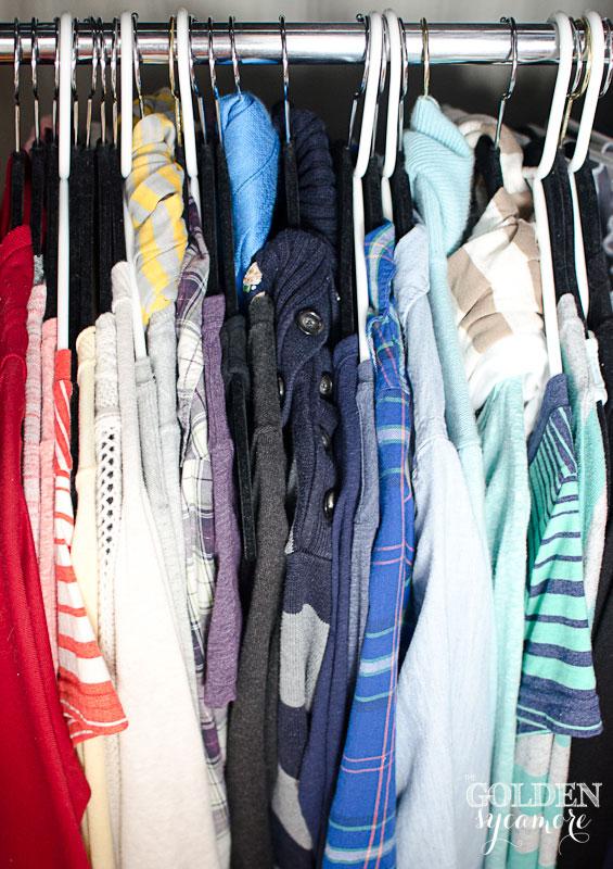 Color coordinated closet