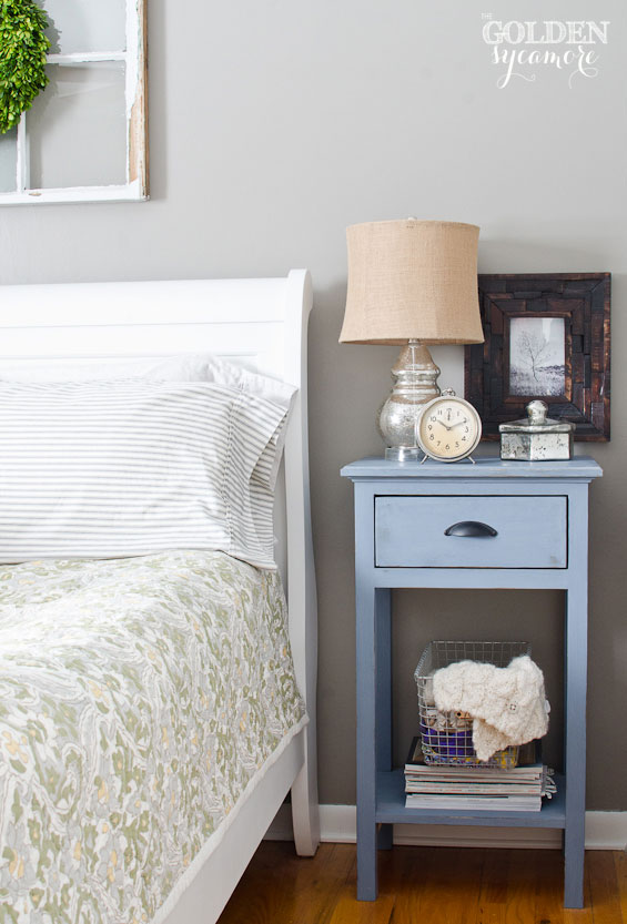 Neutral bedroom with handmade diy blue nightstand