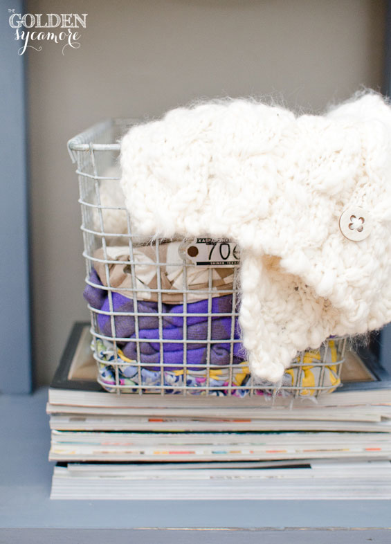 creative scarf storage in vintage locker basket