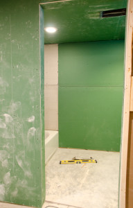 The walls are up in the bathroom!