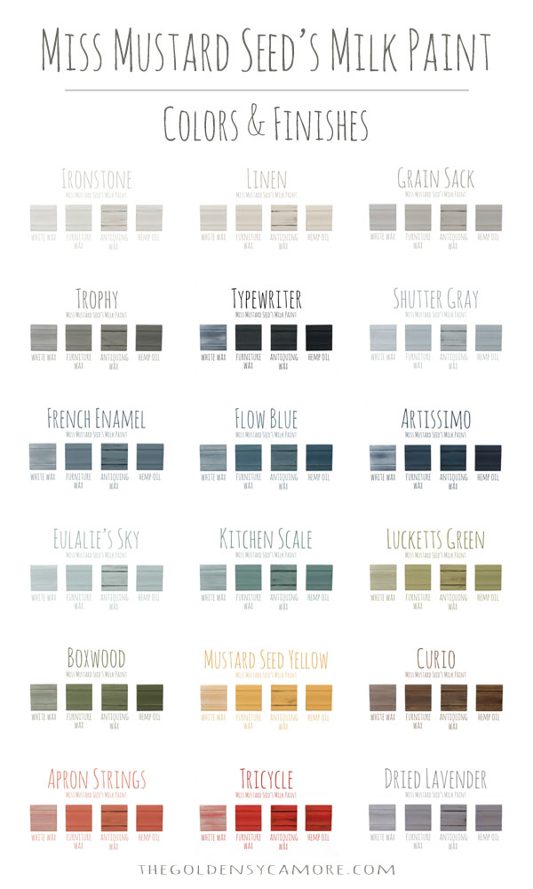 Miss Mustard Seed's Milk Paint Colors & Finishes