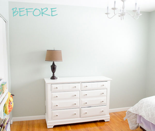 Blank Bedroom Wall Before Polka Dot Wall Treatment