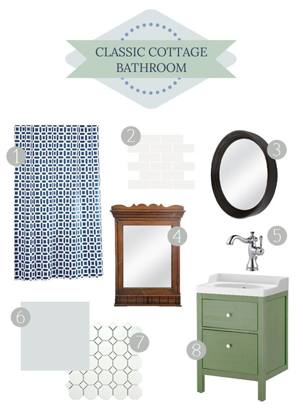 Classic Cottage Bathroom Mood Board - thegoldensycamore.com