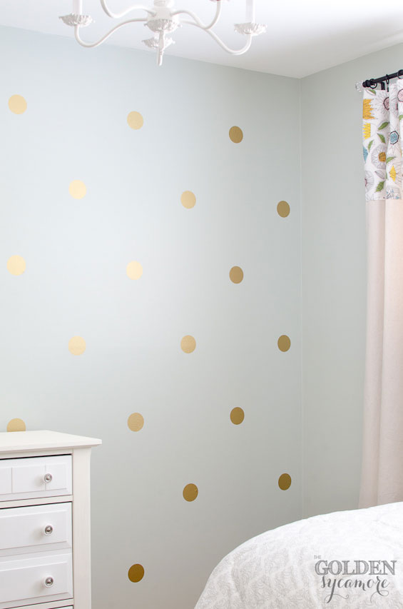 Diy gold polka dot wall the golden sycamore for How to make polka dots on wall