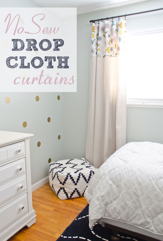 Curtains Ideas curtains made from painters drop cloths : DIY No Sew Drop Cloth Curtains - The Golden Sycamore