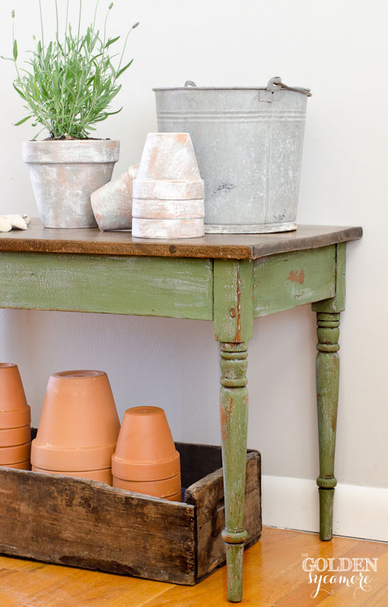 Simple Distressed Potting Bench Table in Boxwood and Shutter Gray mmsmilkpaint