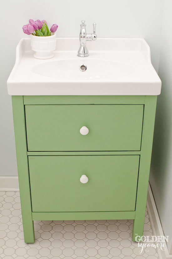 painted green furniture. Chalk Painted Green Ikea Bathroom Vanity Furniture