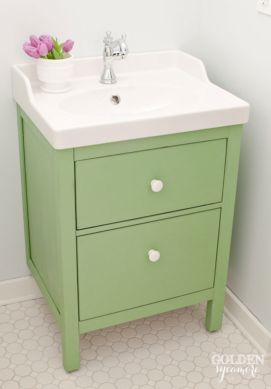 Custom green bathroom vanity