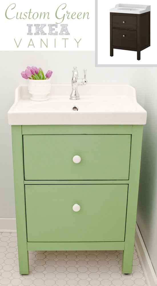 Green Ikea custom bathroom vanity - Green IKEA Custom Bathroom Vanity - The Golden Sycamore
