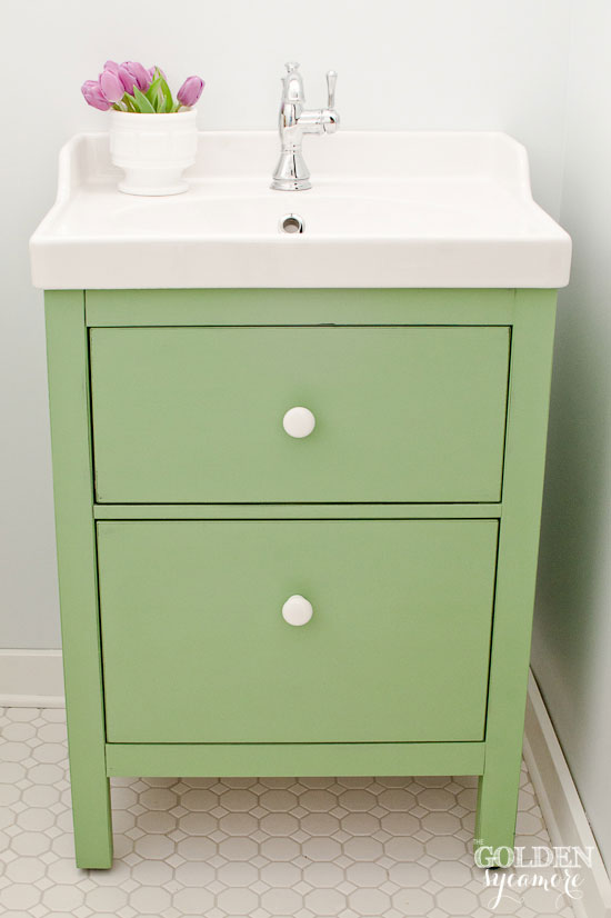 Fresh Green Ikea custom bathroom vanity