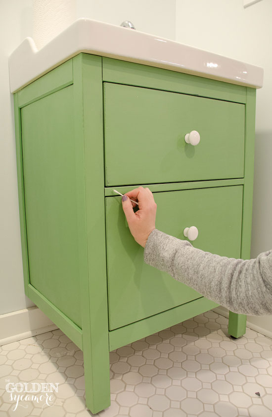 green ikea hack bathroom vanity touch up