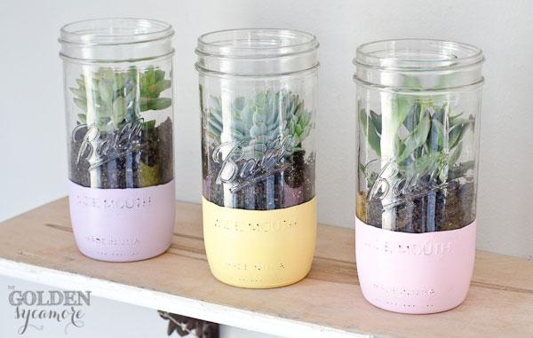 Painted Mason Jar Succulent Planter