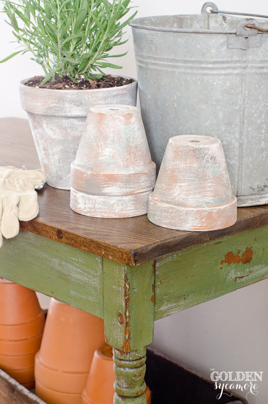 Distressed Potting Bench Table The Golden Sycamore