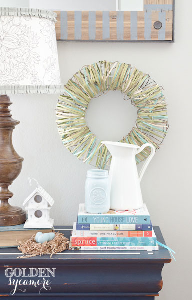 Spring Vignette and Striped Mirror Update via thegoldensycamore.com