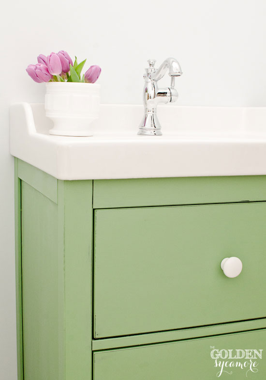 Vintage looking custom Ikea bathroom vanity