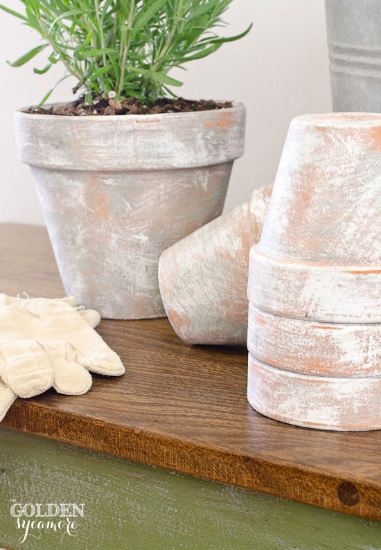 Weathered & Distressed Terra Cotta Pot Planters & Green Potting Table