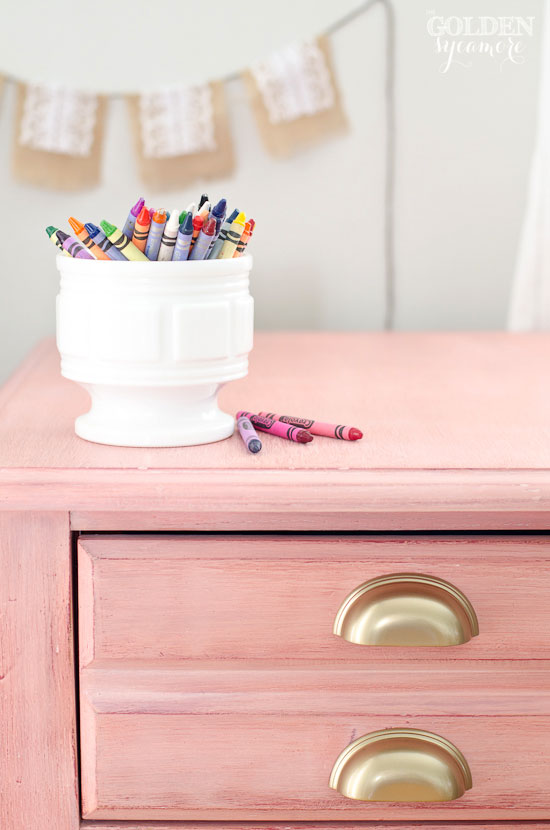 Pink Milk Painted Night Stand With Gold Drawer Pulls