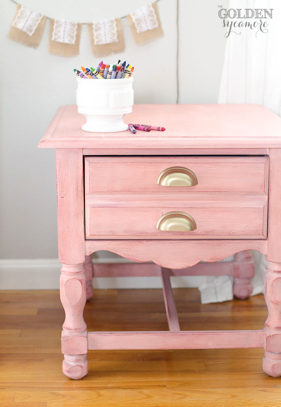 Apron Strings milk painted nightstand with white wax finish  #mmsmilkpaint